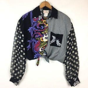 Vintage 80s 90s Tie front Shirt Polka Dot Floral